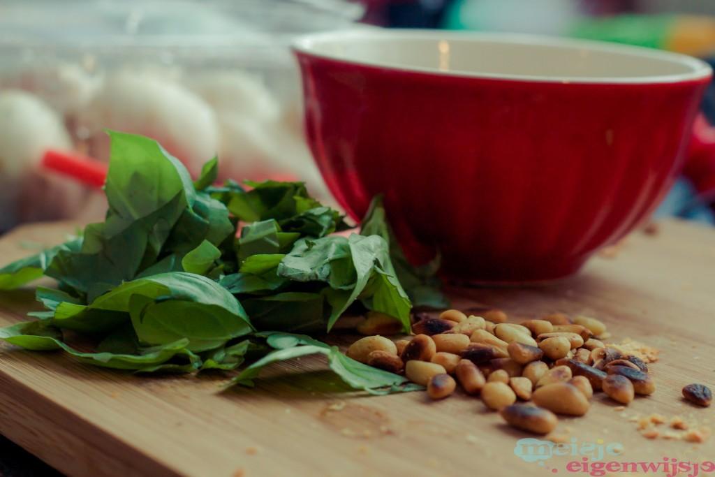 pasta pesto met spinazie pijnboompitten