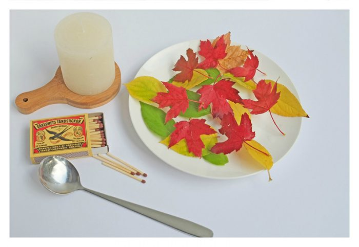 Kaarsen met Herfstbladeren simpele herfst diy