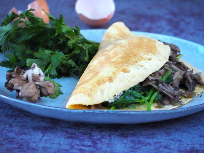 gevulde omelet met spinazie - herfst recepten