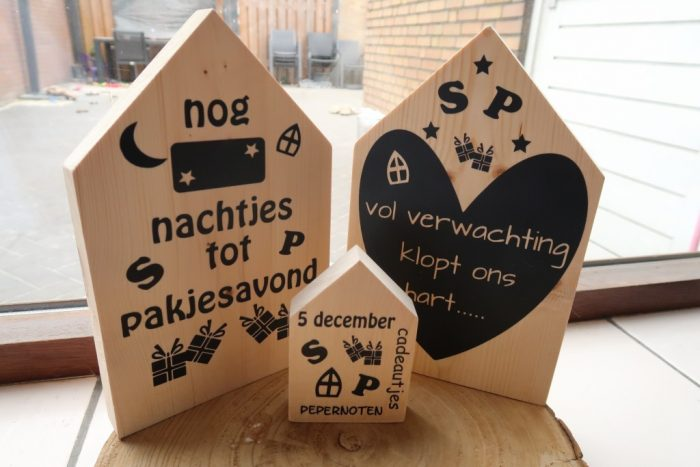 Sinterklaas decoratie houten huisjes